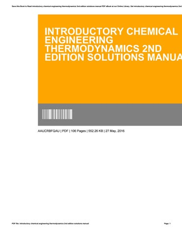 introduction to chemical engineering thermodynamics 7th edition ebook